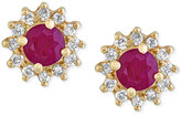 Effy Amoré by Certified Ruby (5/8 ct. t.w.) and Diamond (1/4 ct. t.w.) Floral Stud Earrings in 14k Gold