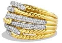 David Yurman Labyrinth Triple-Loop Ring With Diamonds In 18K Gold