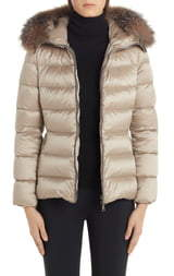 Moncler Tati Belted Down Puffer Coat with Removable Genuine Fox Fur Trim