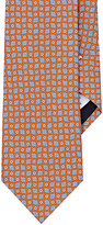 Barneys New York MEN'S DIAMOND- & CIRCLE-PRINT FAILLE NECKTIE-ORANGE