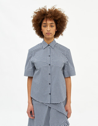 pushBUTTON Women's Bra Point Short Sleeve Shirts in Navy/White Check, Size Small   100% Cotton