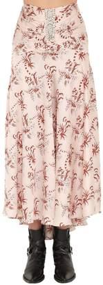 Paco Rabanne Printed Satin Asymmetric Skirt W/crystal