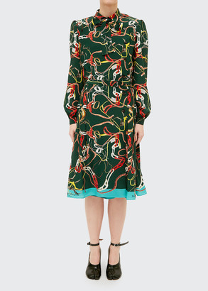 Maison Margiela Equestrian-Print Long-Sleeve Silk Midi Dress
