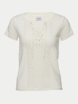 Frame Pointelle Lace Up Tee