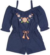 Freestyle Heather Denim Floral Off-Shoulder Romper - Toddler & Girls