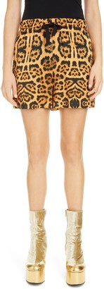 Dries Van Noten Leopard Print Shorts
