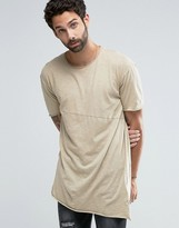 Pull&Bear Asymmetric T-Shirt In Sand