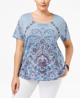 Style&Co. Style & Co Plus Size Scroll-Print Top, Only at Macy's