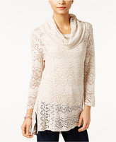 Style&Co. Style & Co. Petite Pointelle Cowl-Neck Sweater, Only at Macy's