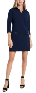 MSK Petite Grommet Pocket Shift Dress