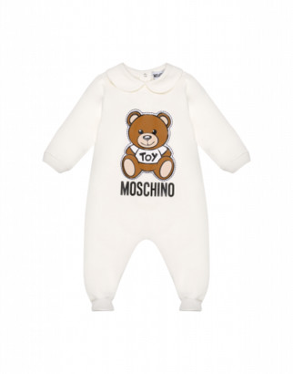 Moschino Onesie With Teddy Bear Patch Unisex White Size 1/3m It