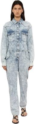 Etoile Isabel Marant Idesia Bleached Cotton Denim Jumpsuit