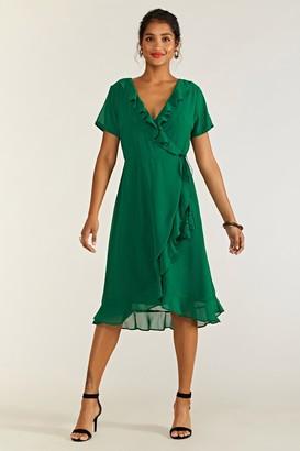 Yumi Frill Wrap Dress With Tassel Detail