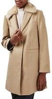 Topshop Women's Faux Fur Collar Coat