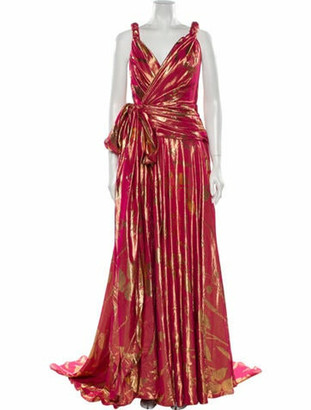 Oscar de la Renta Silk Long Dress w/ Tags Metallic