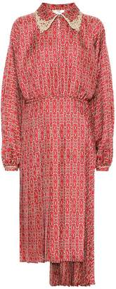 Fendi Printed silk-twill midi dress