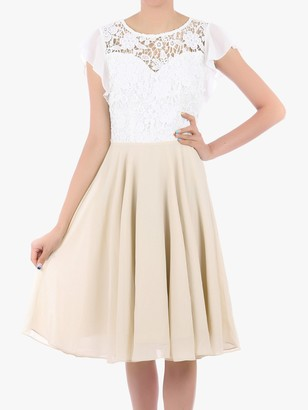 Jolie Moi Contrast Lace Skater Dress