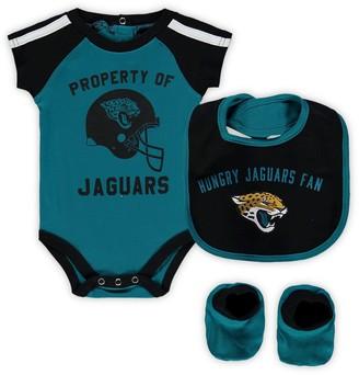 Outerstuff Newborn & Infant Teal/Black Jacksonville Jaguars Tackle Bodysuit, Bib & Booties Set