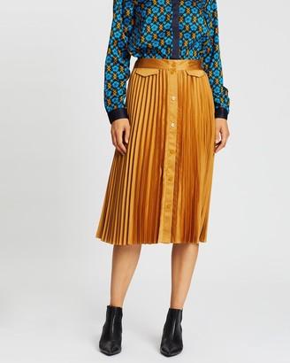 Scotch & Soda Pleated Midi Skirt With Placket