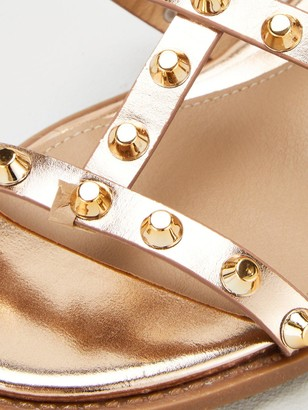 Missguided Dome Stud Gladiator Sandals - Rose Gold