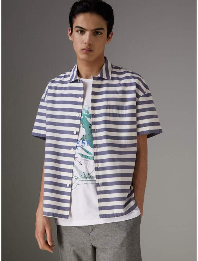 Burberry Short-sleeve Striped Cotton Shirt , Size: XXXL