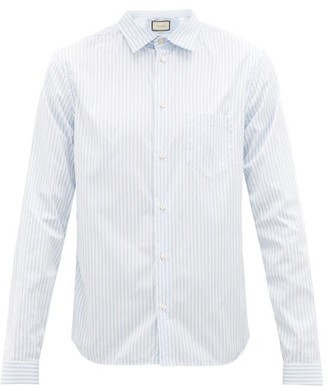 Gucci Striped Cotton-poplin College Shirt - Mens - Light Blue