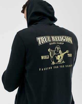 True Religion buddah metalic logo hoodie in black