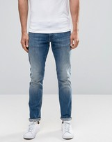 Armani Jeans J06 Slim Fit Jeans In Stretch Distressed Light Wash