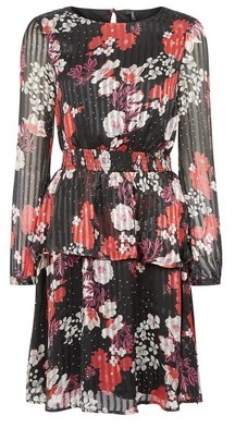 Dorothy Perkins Womens Vero Moda Black Floral Print Dress, Black
