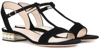 Nicholas Kirkwood Casati Pearl T-bar suede sandals