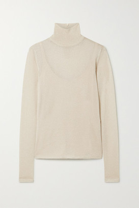 Max Mara Pietra Lurex Turtleneck Sweater - Beige