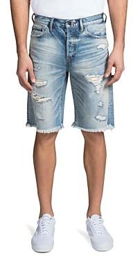 PRPS Warsaw Regular Fit Shredded Denim Shorts in Light Blue