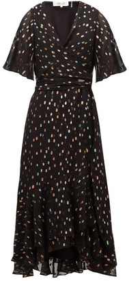 Diane von Furstenberg Berdina Fil-coupe Chiffon Wrap Dress - Womens - Black Multi