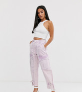 Asos DESIGN Petite lilac acid wash combat pants
