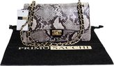 Primo Sacchi Italian Leather Snake Skin Pattern Classic Design Shoulder Bag Handbag, with Metal Chain and Leather, Handles / Strap Includes a Branded Protective Storage Bag