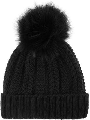 Accessorize Luxe Pom Beanie Hat - Black