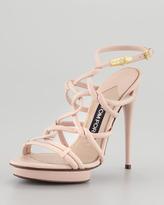 Tom Ford Platform Sandal with Snake Head Buckle, Light Pink