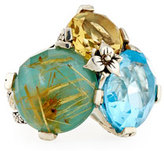 Stephen Dweck Rutilated Quartz, Turquoise, Topaz & Citrine Ring