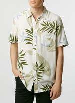 Topman White/Green Plant Print Short Sleeve Casual Shirt
