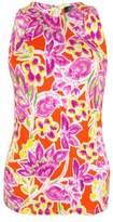 Lauren Ralph Lauren Women's Floral Print Sleeveless Top (PL, Orange Multi)