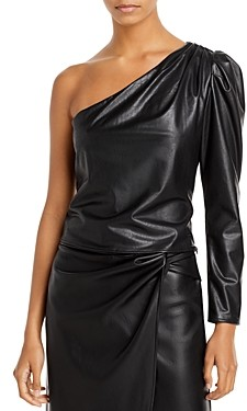 Lucy Paris One Shoulder Faux Leather Top