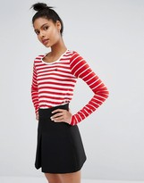 Sonia by Sonia Rykiel Sonia By Sonia Rykiel Long Sleeve T-Shirt with Mixed Stripe Print