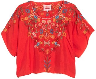 Johnny Was Lombriga Embroidered Short Sleeve Blouse