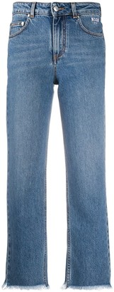 MSGM Frayed-Edge Cropped Jeans