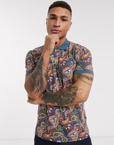 Pretty Green all over paisley print polo shirt in multi