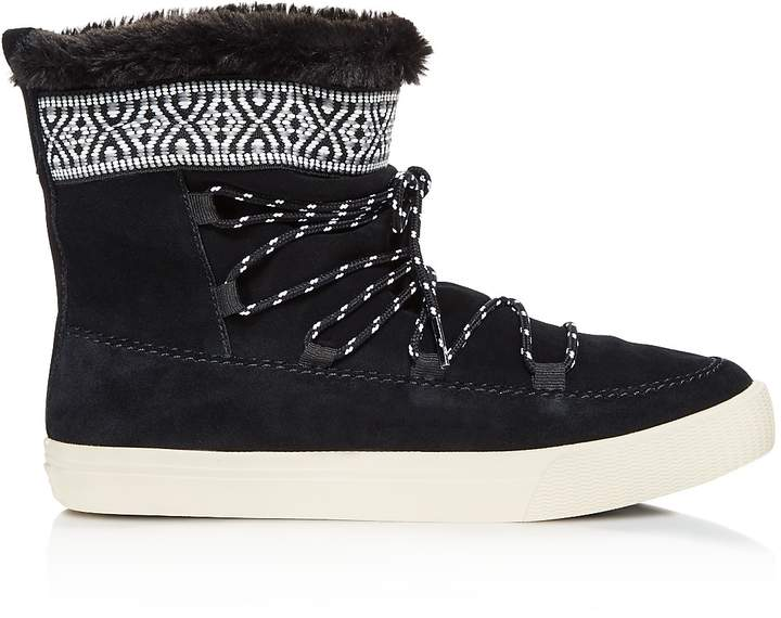 Toms Alpine Suede and Faux Fur Slipper Booties