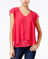 Amy Byer Juniors' Chiffon-Layered Top with Necklace