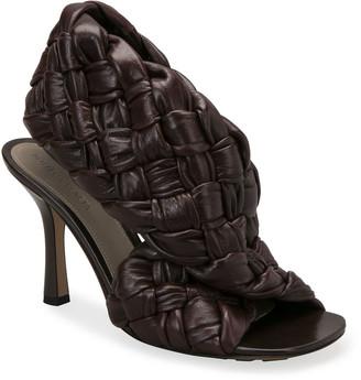Bottega Veneta 90mm Woven Shiny Leather Sandals