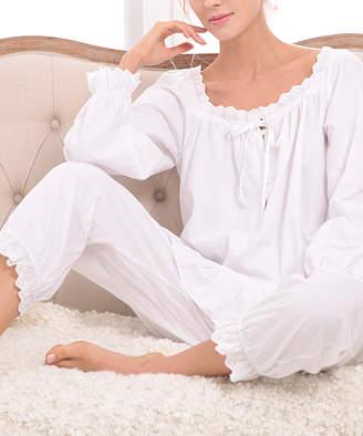Avidlove Women's Sleep Bottoms White - White Lace-Trim Ruffle-Hem Pajama Set - Women