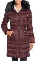 Vince Camuto Women's Belted Puffer Coat With Removable Faux Fur Trim & Hood